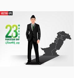 Quaid e azam showing pakistan map vector