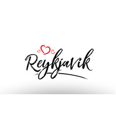 Reykjavik europe european city name love heart vector
