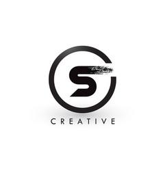 S brush letter logo design creative brushed vector