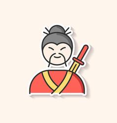 samurai patch asian martial arts fighter vector image