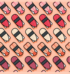 seamless pattern sushi pink vector image