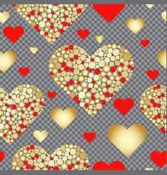 seamless valentine pattern of red and gold hearts vector image