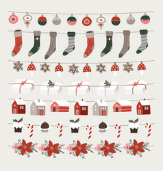set christmas holiday decorative borders vector image