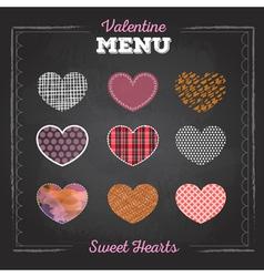 Set of valentine love hearts vector image