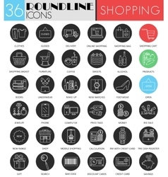 Shopping circle white black icon set vector