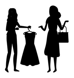 Shopping woman in shop silhouette black and white vector