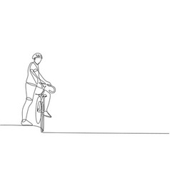 Single continuous line drawing young agile man vector