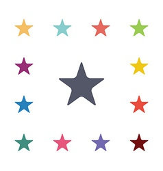 star flat icons set vector image