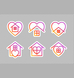 stay home social media icons on transparent vector image