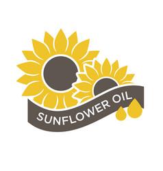 Sunflower oil emblem vector