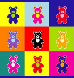 teddy bear sign pop-art vector image