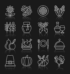 Thanksgiving day white thin line icon set vector