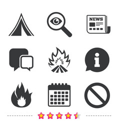 Tourist camping tent sign fire flame icons vector