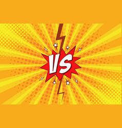 versus vs pop art comic background with halftone vector image