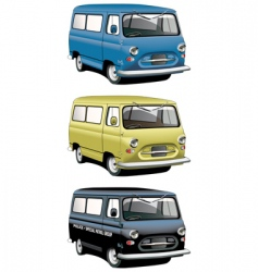 Vintage van set vector