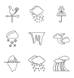 Weather conditions icons set outline style vector