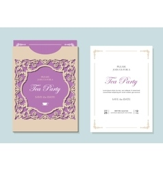 Wedding envelope template with laser cutting vector image