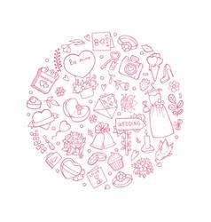 wedding symbols in circle shape vector image