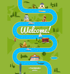 welcome to taiwan poster with famous attractions vector image