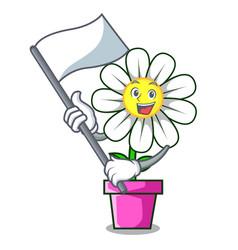 with flag daisy flower mascot cartoon vector image