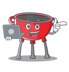 With laptop barbecue grill cartoon character vector