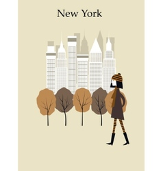 Woman in New York vector image