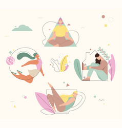 women fill in various geometric shapes vector image