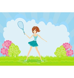 Young girl with a tennis racket vector image