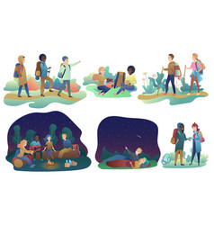 young romantic couples and group of friends hiking vector image