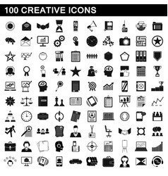 100 creative icons set simple style vector
