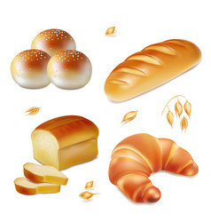 bread realistic bakery icons set vector image vector image