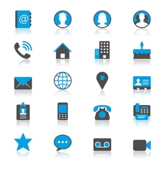 Contact flat with reflection icons vector image vector image