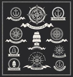 Nautical design elements vector image vector image
