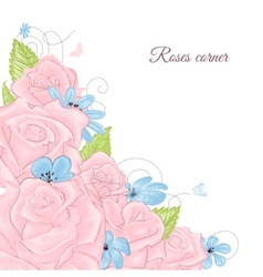 Pink roses bouquet corner decoration over white vector image vector image