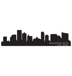 Atlantic City New Jersey skyline Detailed silhouet vector image vector image