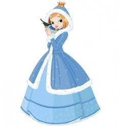 beautiful winter princess with bird vector image