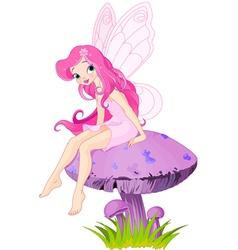 Fairy on the Mushroom vector image vector image