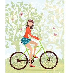Happy girl on a bike outdoors in spring vector image vector image
