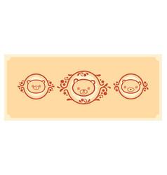 woodland animals icon set three teddy bears vector image vector image