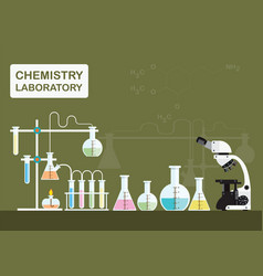 chemical laboratory science with microscope vector image