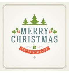 Christmas retro typography and ornament decoration vector image vector image