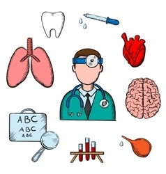 Doctor human organs and medical obects vector image vector image