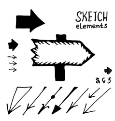 Doodle arrows set Sketch elements vector image vector image