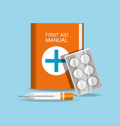 first aid manual with pills and thermometer vector image vector image