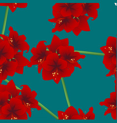 Red amaryllis on teal indigo background christmas vector