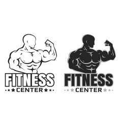 set logos for bodybuilding vector image