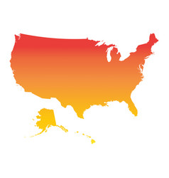 usa united states of america map colorful orange vector image vector image