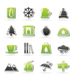Winter Sport and relax icons vector image vector image
