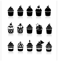 black and white cupcakes icons vector image vector image
