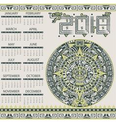 Calendar 2018 in aztec style vector image vector image